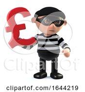3d Burglar Has UK Pounds Sterling Currency Symbol