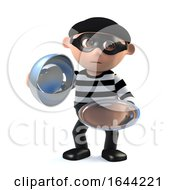 3d Funny Burglar Character Offers Silver Service