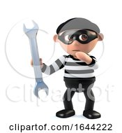 3d Funny Burglar Character Holding A Spanner