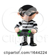 3d Funny Cartoon Burglar Character Plays A Videogame