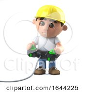 Poster, Art Print Of 3d Construction Worker Playing A Video Game
