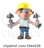 Poster, Art Print Of 3d Construction Worker Exercises With Weights