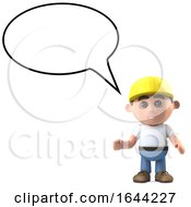 Poster, Art Print Of 3d Construction Worker With Blank Speech Bubble