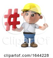 3d Funny Cartoon Construction Worker Character Has A Hashtag Symbol