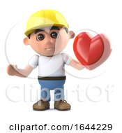 Poster, Art Print Of 3d Construction Worker Has A Heart