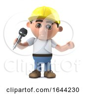 Poster, Art Print Of 3d Construction Worker Has The Microphone