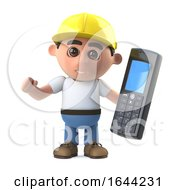 Poster, Art Print Of 3d Construction Worker With Cell Phone