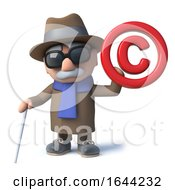 3d Cartoon Old Blind Man Character Holding A Copyright Symbol