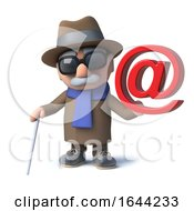 3d Funny Cartoon Blind Man Character Has An Email Address Symbol
