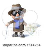 Poster, Art Print Of 3d Blind Man Holding A Map