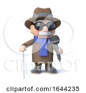 3d Blind Man Singing Into A Microphone