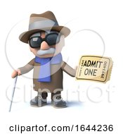 Poster, Art Print Of 3d Cartoon Blind Man Character Has A Ticket Of Admission To The Show