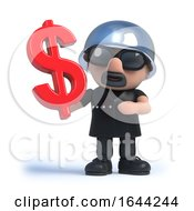 3d Old Biker Holds A US Dollar Currency Symbol by Steve Young