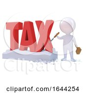 3d Little Man Carves The Word Tax