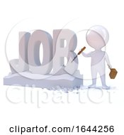 Poster, Art Print Of 3d Little Man Carves The Word Job
