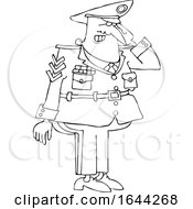 Cartoon Black And White Saluting Military Man