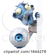 3d Blue Zombie On A White Background