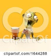 3d Zombie On A Yellow Background by Julos