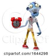 3d Blue Zombie On A White Background by Julos