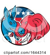 Donkey Biting Elephant Trunk American Flag Drawing by patrimonio