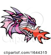 Poster, Art Print Of Mosaic Mythical Dragon Breathing Fire Mascot
