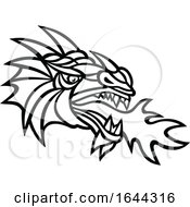 Poster, Art Print Of Black And White Mythical Dragon Breathing Fire Mascot