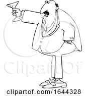 Cartoon Black And White Chubby Businessman Toasting