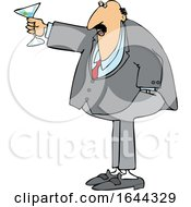 Cartoon Chubby White Businessman Toasting