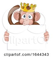 Monkey King Crown Cartoon Animal Holding Sign
