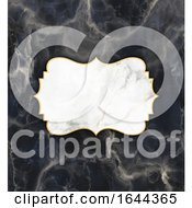 Gold And Marble Frame On A Dark Marble Texture Background