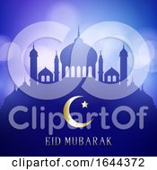 Decorative Eid Mubarak Background With Mosque Silhouettes On A Bokeh Lights Design