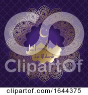 Decorative Eid Mubarak Background With Mosque Silhouette