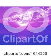 3D Dramatic Purple Sunset Landscape