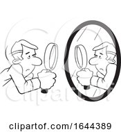 Cartoon Black And White Guy Doing A Self Examination With A Mirror And Magnifying Glass