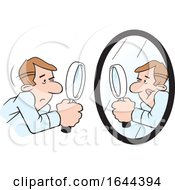 Cartoon White Man Doing A Self Examination With A Mirror And Magnifying Glass