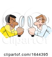 Cartoon White And Black Men Looking At Each Other Throgh Magnifying Glasses