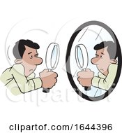 Cartoon Hispanic Man Doing A Self Examination With A Mirror And Magnifying Glass