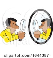 Cartoon Black Man Doing A Self Examination With A Mirror And Magnifying Glass