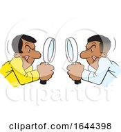 Cartoon Black Men Looking At Each Other Throgh Magnifying Glasses