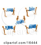 Orange People Carrying Dot Org Edu Biz URL And Eu Clipart Illustration Graphic