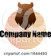 Bear Mascot Head Over A Striped Circle And Sample Text by Morphart Creations