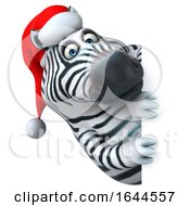 3d Christmas Zebra On A White Background by Julos