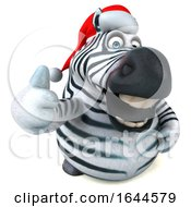 3d Christmas Zebra On A White Background