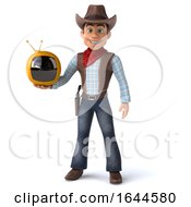 3d Cowboy On A White Background by Julos