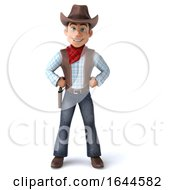 3d Western Cowboy On A White Background by Julos