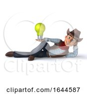 Poster, Art Print Of 3d Cowboy On A White Background
