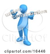 Blue Person Holding Text Reading Under Construction by 3poD
