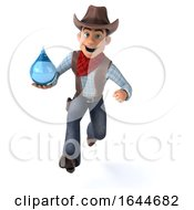 3d Cowboy On A White Background