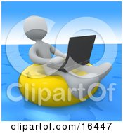 White Person A Workaholic Floating On A Yellow Inner Tube In The Ocean While Typing On A Laptop Computer
