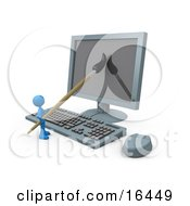 Blue Person A Cartoonist Using A Paintbrush On A Flat Screen Computer Monitor To Create An Image Or This Could Be A Designer Designing A Website